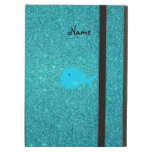 Personalized name turquoise whale glitter iPad case