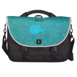 Personalized name turquoise whale glitter laptop commuter bag