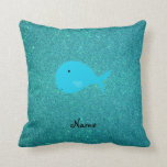 Personalized name turquoise whale glitter throw pillows