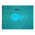 Personalized name turquoise whale glitter post card
