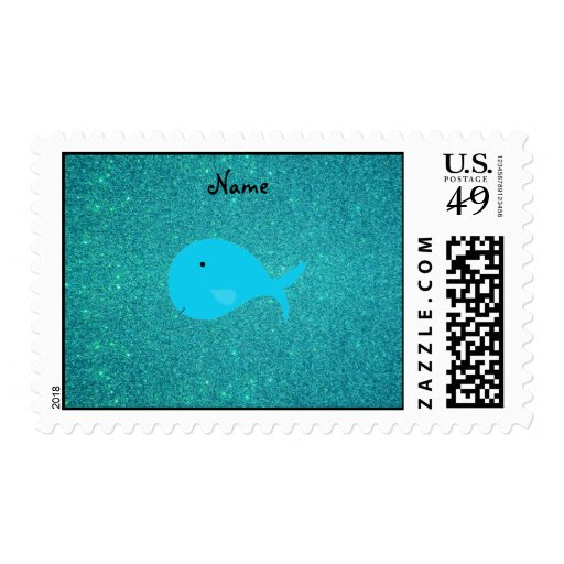 Personalized name turquoise whale glitter stamp