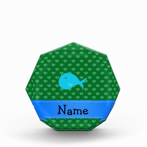 Personalized name turquoise whale green hearts awards