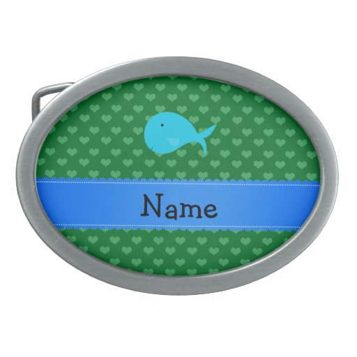 Personalized name turquoise whale green hearts belt buckle