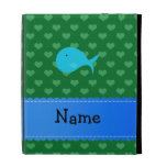 Personalized name turquoise whale green hearts iPad case