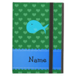 Personalized name turquoise whale green hearts iPad cases
