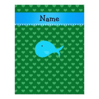 Personalized name turquoise whale green hearts customized letterhead