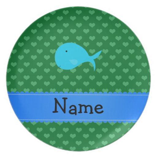 Personalized name turquoise whale green hearts party plate