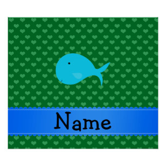Personalized name turquoise whale green hearts print