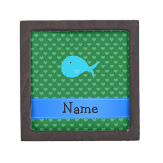 Personalized name turquoise whale green hearts premium keepsake boxes
