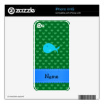 Personalized name turquoise whale green hearts iPhone 4S skin
