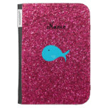 Personalized name turquoise whale pink glitter kindle keyboard cases