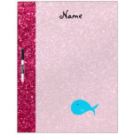 Personalized name turquoise whale pink glitter dry erase boards