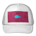 Personalized name turquoise whale pink glitter trucker hat