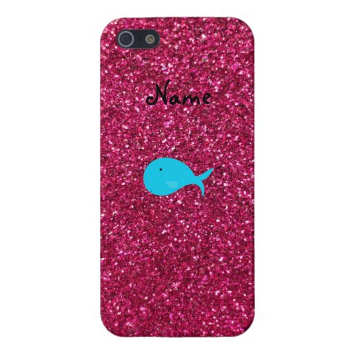 Personalized name turquoise whale pink glitter cover for iPhone 5