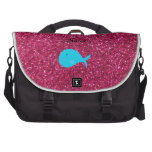 Personalized name turquoise whale pink glitter computer bag