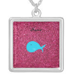 Personalized name turquoise whale pink glitter necklaces