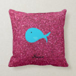 Personalized name turquoise whale pink glitter throw pillow