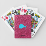Personalized name turquoise whale pink glitter playing cards