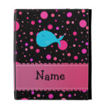 Personalized name turquoise whale pink polka dots iPad cases