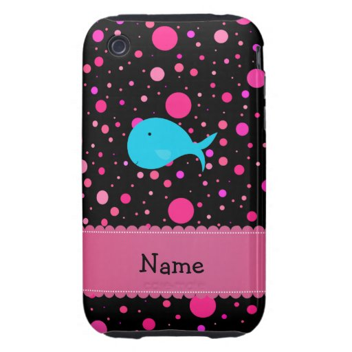 Personalized name turquoise whale pink polka dots iPhone 3 tough cover