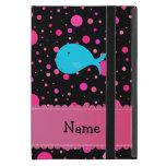 Personalized name turquoise whale pink polka dots iPad mini cover