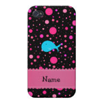 Personalized name turquoise whale pink polka dots iPhone 4 case