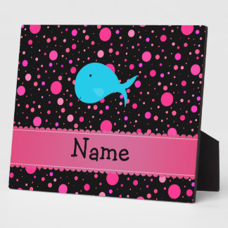 Personalized name turquoise whale pink polka dots plaques