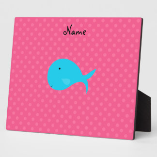 Personalized name turquoise whale pink polka dots display plaque