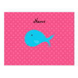 Personalized name turquoise whale pink polka dots postcard