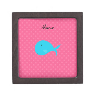 Personalized name turquoise whale pink polka dots premium keepsake box