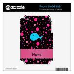 Personalized name turquoise whale pink polka dots iPhone 2G decal