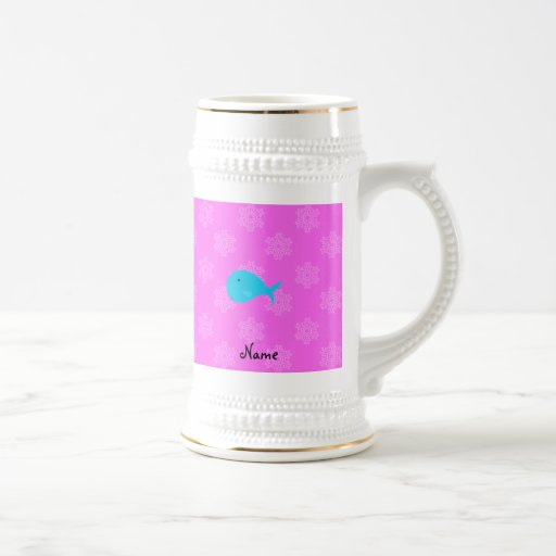 Personalized name turquoise whale pink snowflakes mug