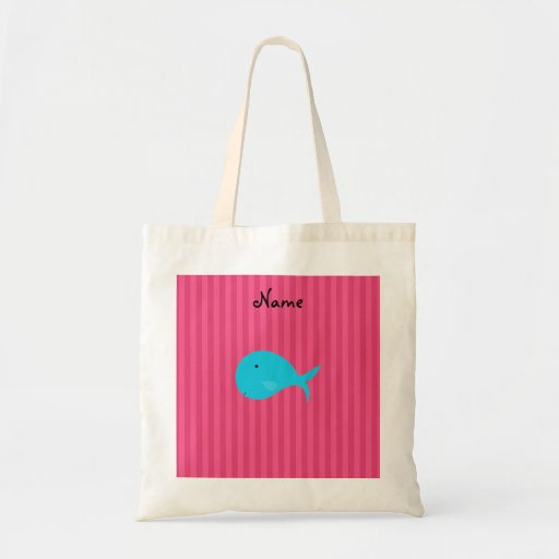 Personalized name turquoise whale pink stripes budget tote bag