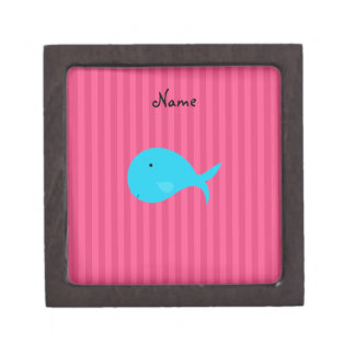 Personalized name turquoise whale pink stripes premium trinket box