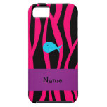 Personalized name turquoise whale pink zebra iPhone 5 case