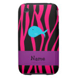 Personalized name turquoise whale pink zebra tough iPhone 3 covers