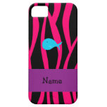 Personalized name turquoise whale pink zebra iPhone 5 cases