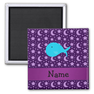 Personalized name turquoise whale purple stars 2 inch square magnet