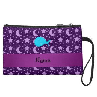 Personalized name turquoise whale purple stars wristlet purses