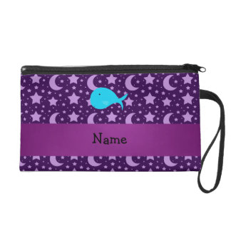 Personalized name turquoise whale purple stars wristlets
