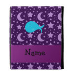Personalized name turquoise whale purple stars iPad cases
