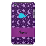 Personalized name turquoise whale purple stars barely there iPod case