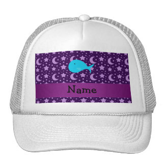 Personalized name turquoise whale purple stars trucker hats