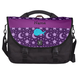 Personalized name turquoise whale purple stars bag for laptop
