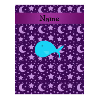 Personalized name turquoise whale purple stars customized letterhead