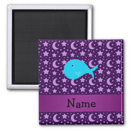 Personalized name turquoise whale purple stars magnet