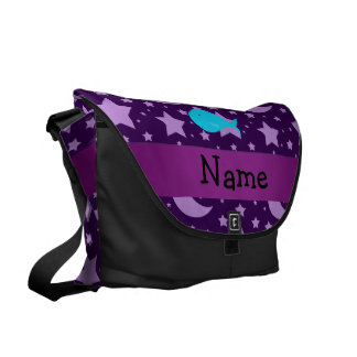 Personalized name turquoise whale purple stars messenger bags