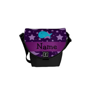 Personalized name turquoise whale purple stars messenger bag