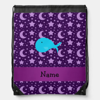Personalized name turquoise whale purple stars drawstring bag