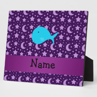 Personalized name turquoise whale purple stars display plaques